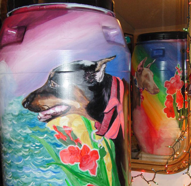 Dogs on Rain Barrels
