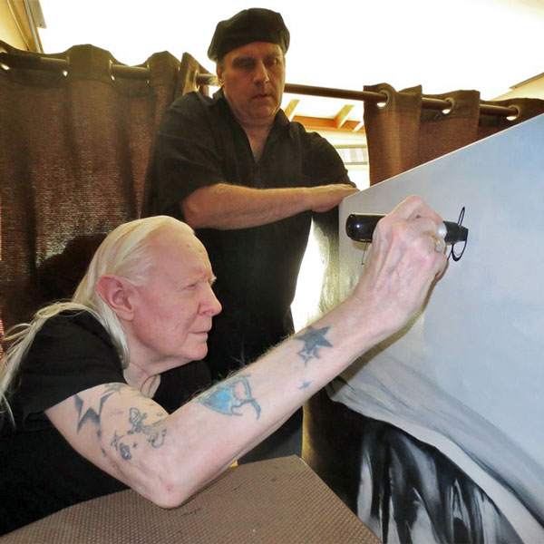Johnny Winter Signing Painting