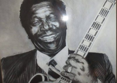 BB King Autographed Charcoal